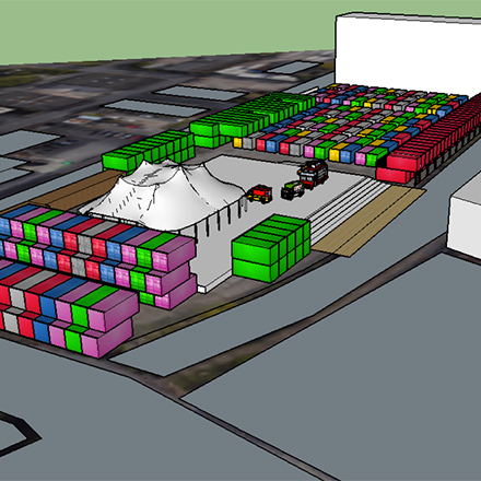 3D drawing - Pollard Yard | Converted container workspaces in central Manchester